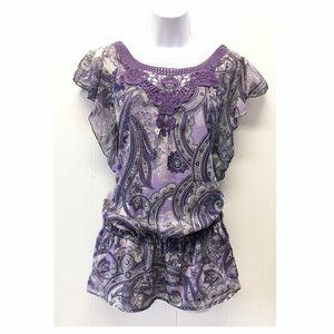 Apt. 9 | NWT Boho Lavender Paisley + Lace Tunic